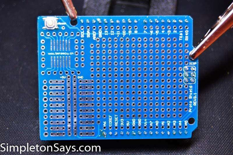 Arduino Proto board ready for circuit